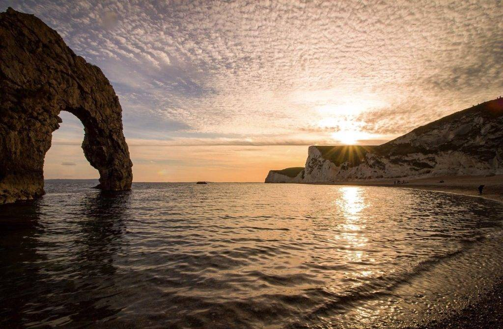 2nd Place Mackerel sky sunset from Durdle Door by Rachel Baker @Saintsmadmomma