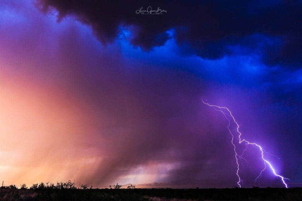 3rd Place Awesome color, structure and bolt on this storm near Pearce, AZ by Lori Grace Bailey @lorigraceaz