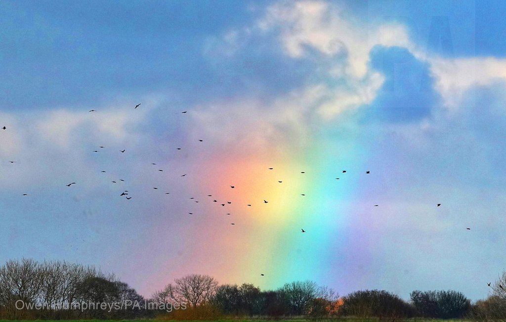 A little bit of colour in the sky as some birds fly through a small rainbow by Owen Humphreys @owenhumphreys1