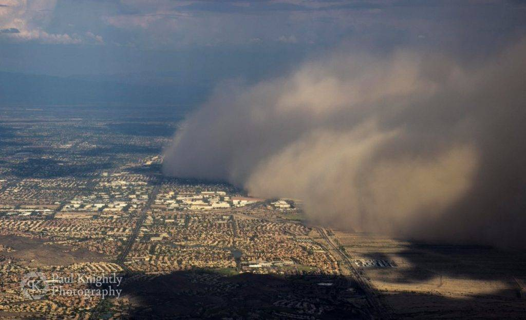 1st Place A haboob is seen rolling across Mesa, Arizona from my window on a flight departing Phoenix by Paul Knightly @KnightlyPhoto