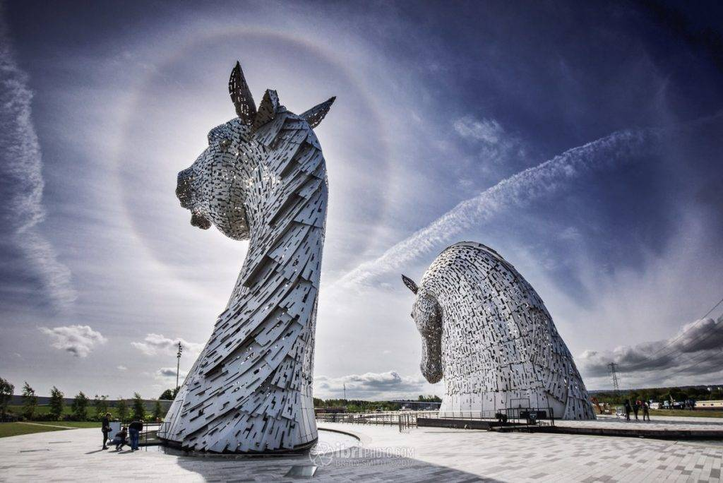 1st Place Brian Smith @ibri_clacks A bright 22˚ ice halo casting a ring around 1 of the giant Kelpie sculptures in Falkirk