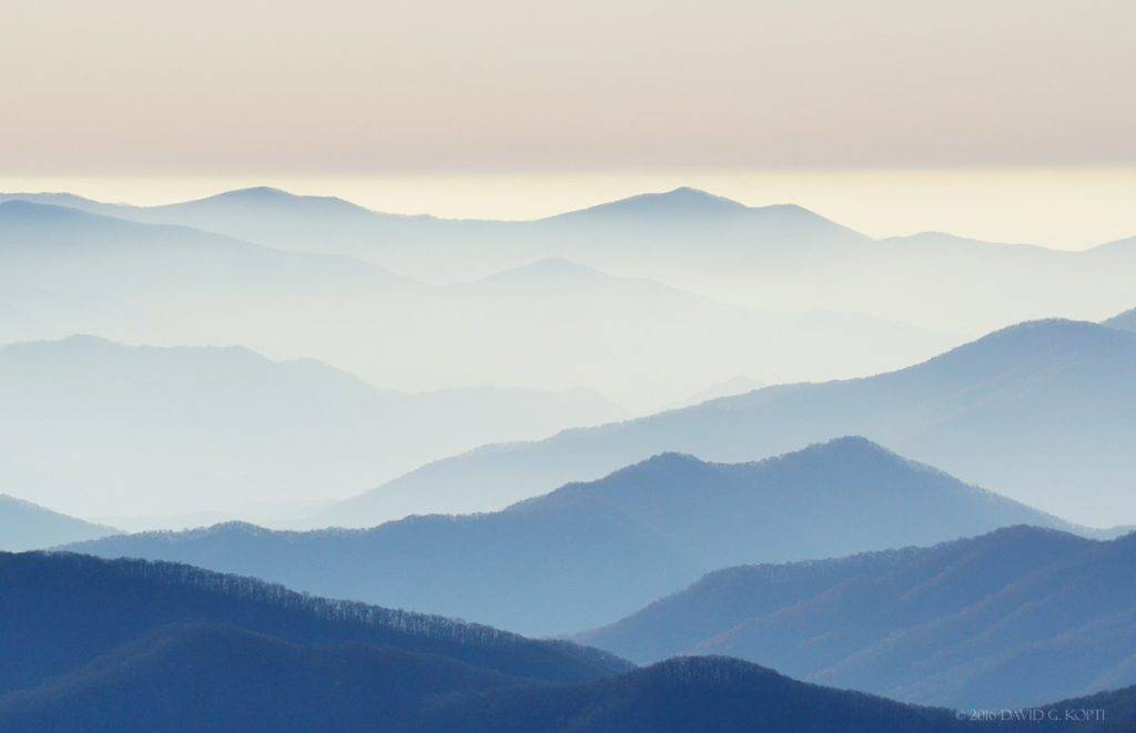 Smoke in the valleys, taken from Clingmans Dome in the Great Smoky Mountains.