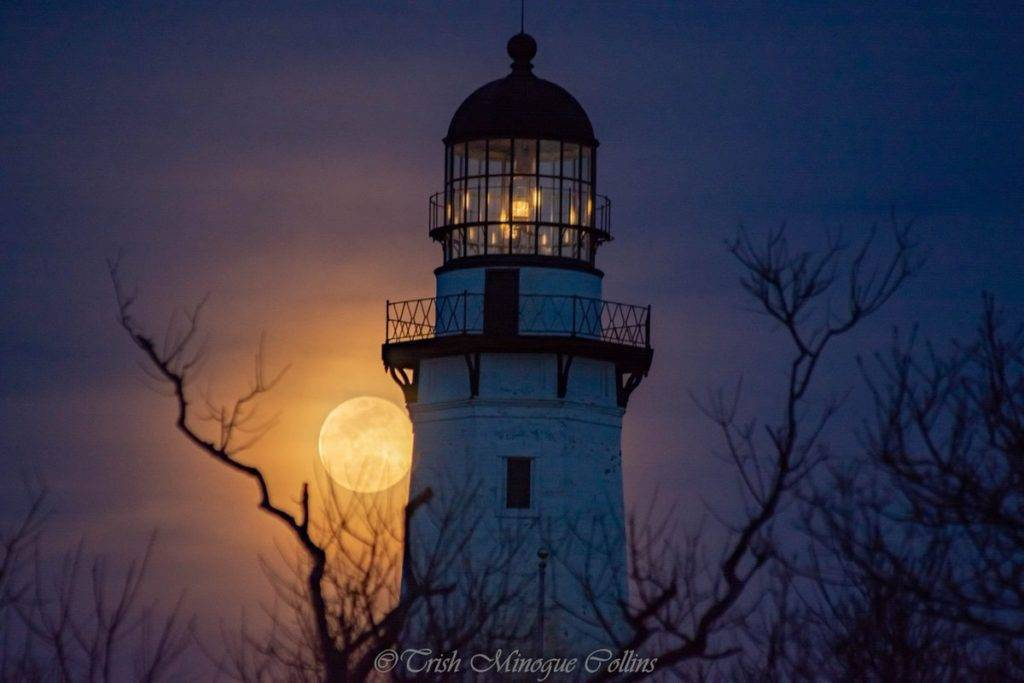 1st Place Full moon through Spring haze over Montauk Lighthouse, NY by Trish MinogueCollins @TrishMinogPhoto