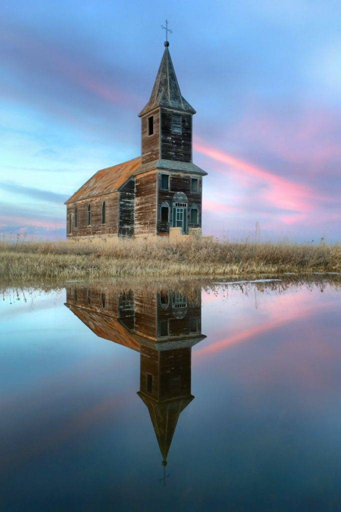 1st Place Jill @Photochic2013 When spring puddles and Saskatchewan sunsets collide... magic happens!