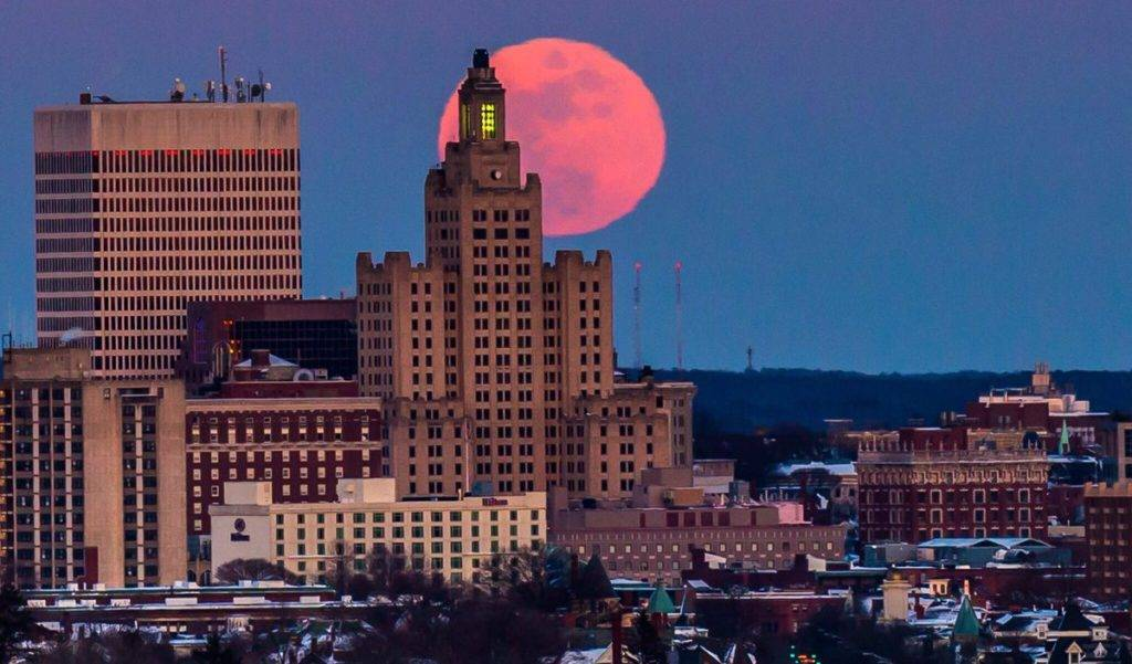 The Snow Moon rises over Providence, Rhode Island on Feb. 9, 2017