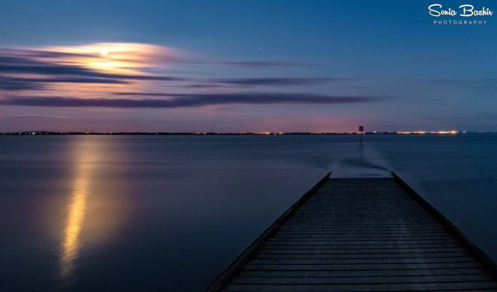 1st Place Sonia Bashir @SoniaBashir_ The moon rising over the jetty last night at Lytham St Annes