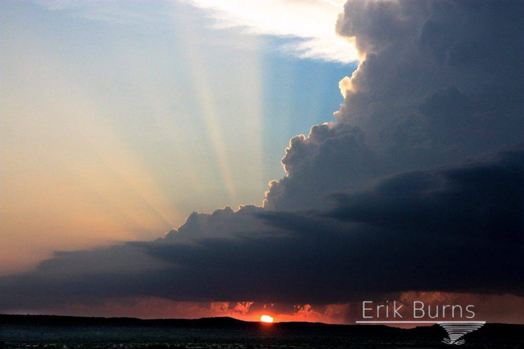 sunset backlit supercell in NW TX on 06/14/16