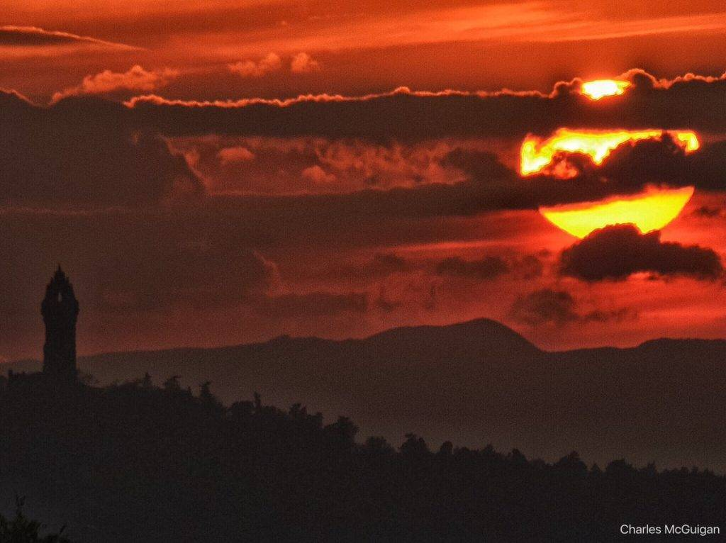Sunset over Stirling at The Wallace Monument