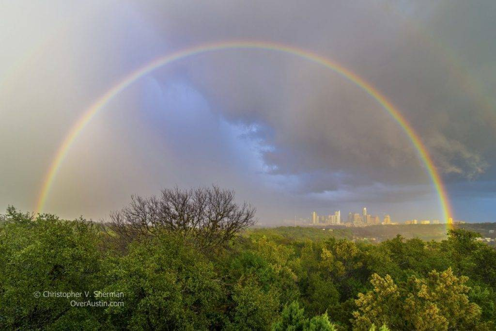 Rainbow after storms in Austin, Texas
