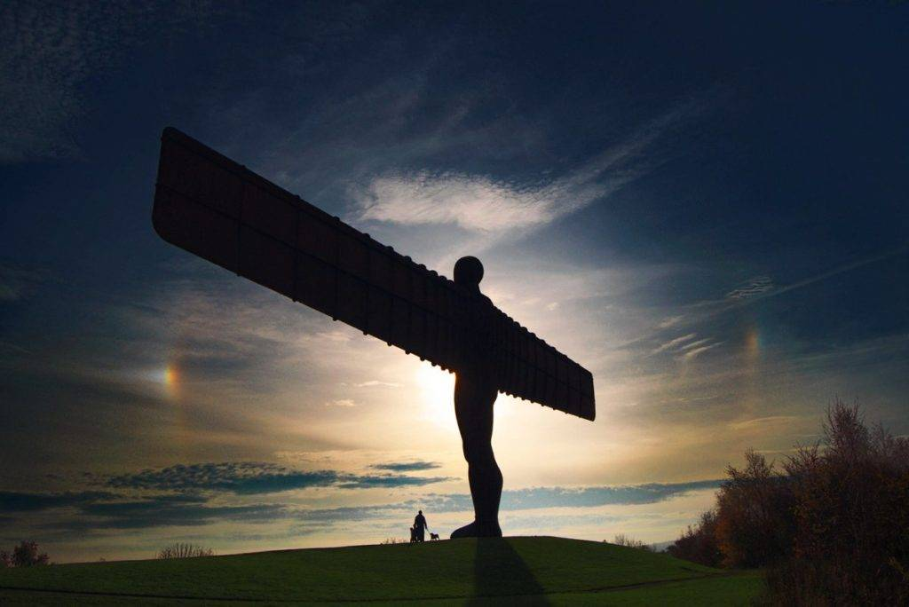 Sundogs frame The Angel of the North, near Gateshead, England.