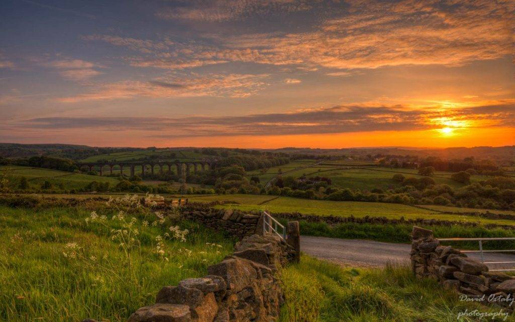2nd Place The village of Cullingworth in Yorkshire at sunset with Hewenden viaduct by DavidOxtaby @Dave3072