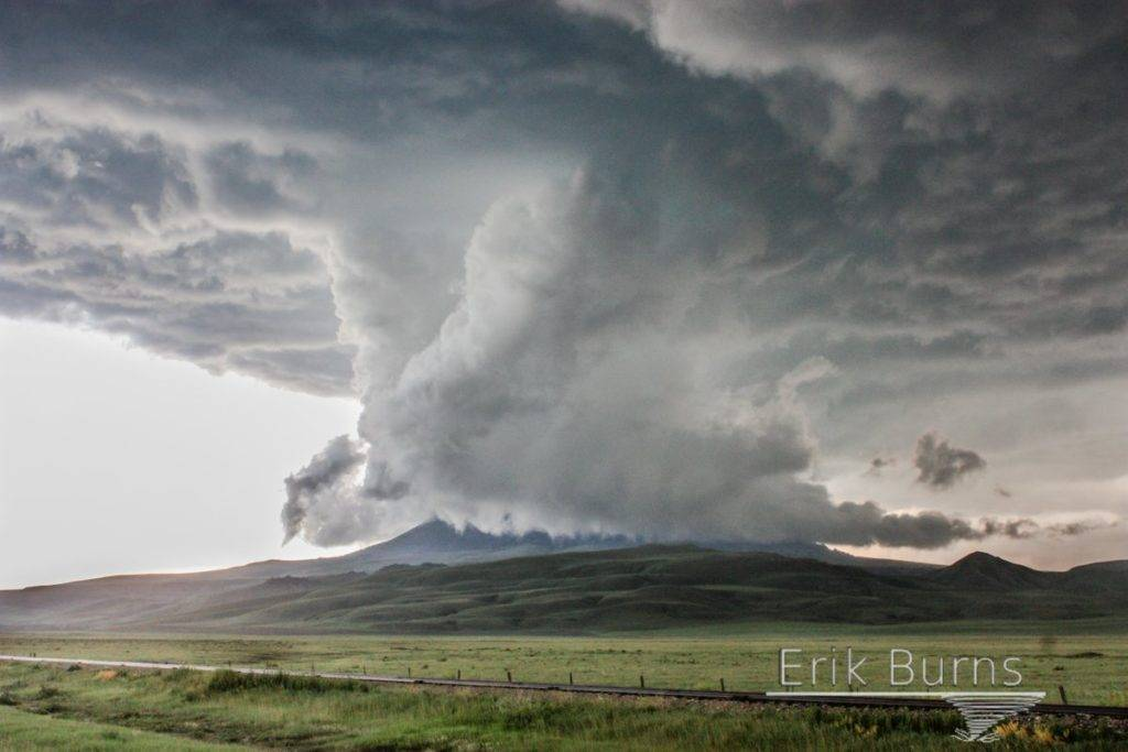 """Ground scraping wall cloud consumes a mesa in Square Buttes, Montana. June 10, 2016. Amazing tour!"""