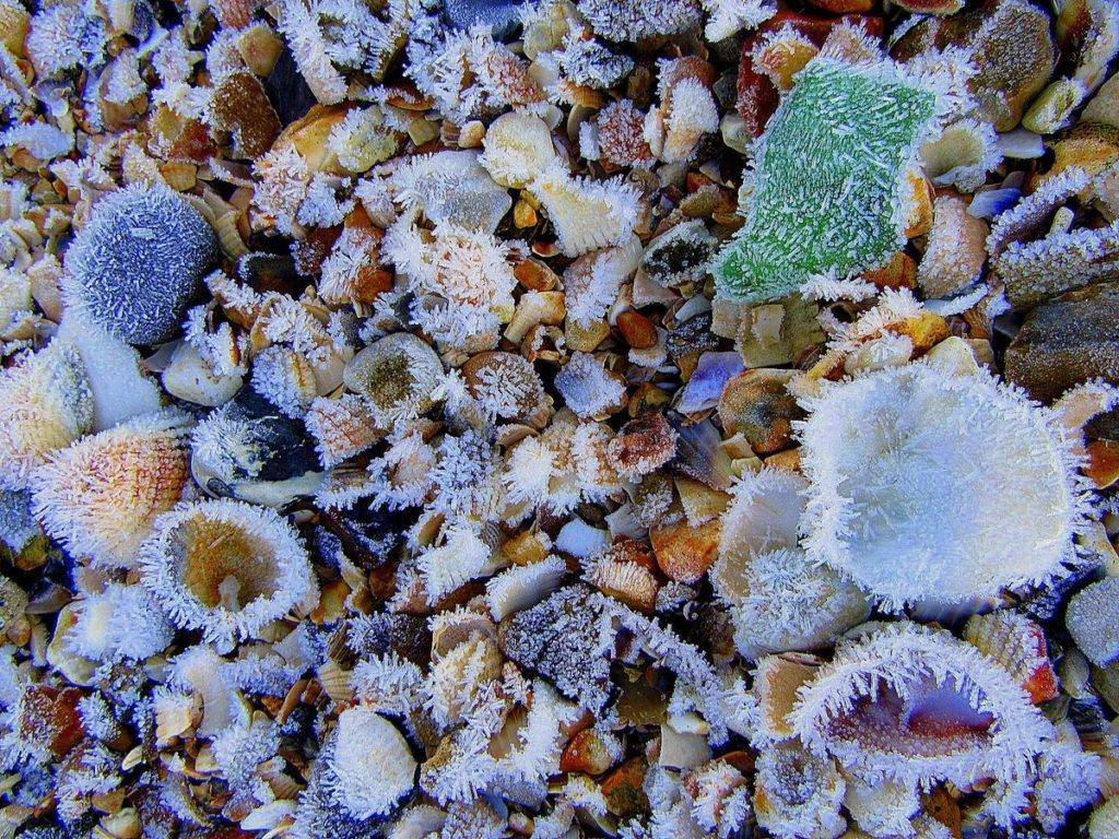 It's so cold there is frost on the beach in Hythe, Hampshire