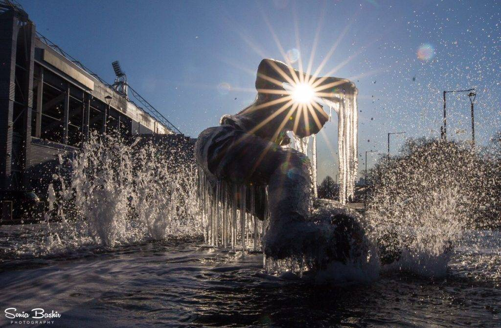3rd Place Sonia Bashir @SoniaBashir_ The frozen Sir Tom Finney statue melting away in the sun. Preston, Lancashire