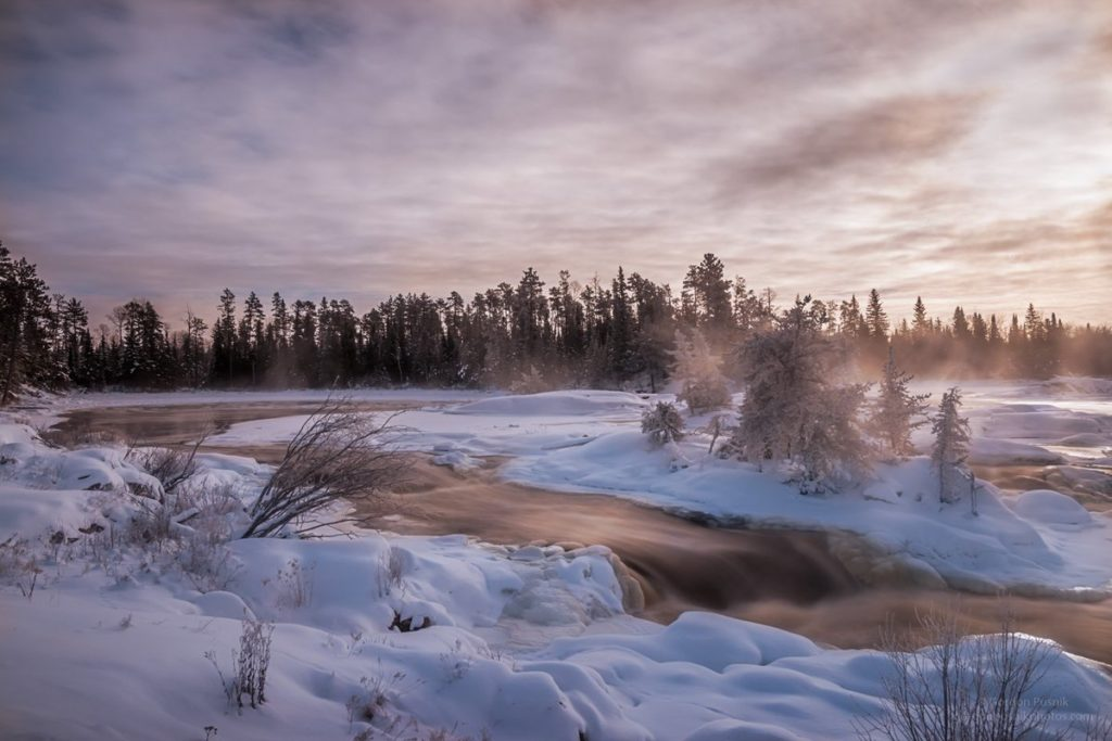 3rd Place Waterfalls at -30C - N.W. Ontario by Gordon Pusnik @gordonpusnik