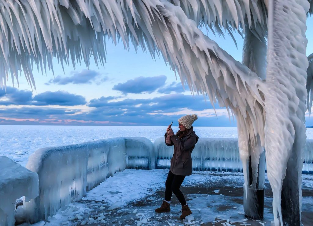 A frozen Lake Michigan by Stacey Anne Leeson @StaceyALee