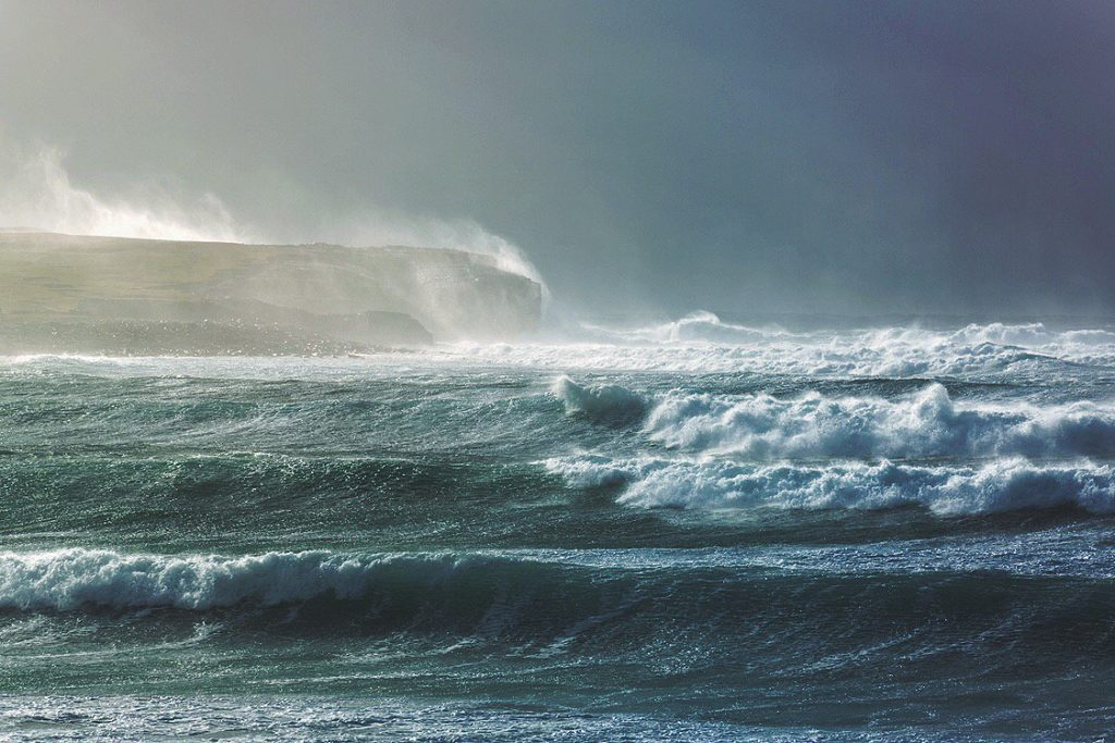 Bay of Skaill in stormy weather Orkney by Debbie Sutherland @Debbiesuth