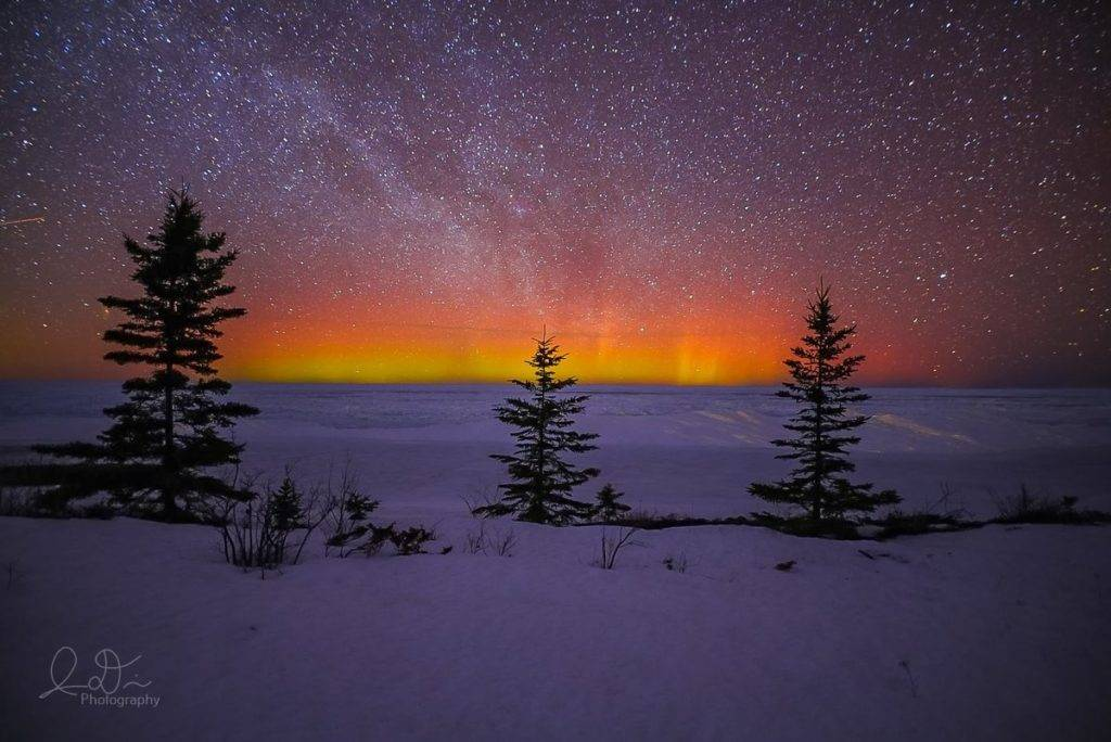 From the top of Michigan. Copper Harbor, MI at 12am. Aurora Borealis by isaac @ID_Photo_Graphy
