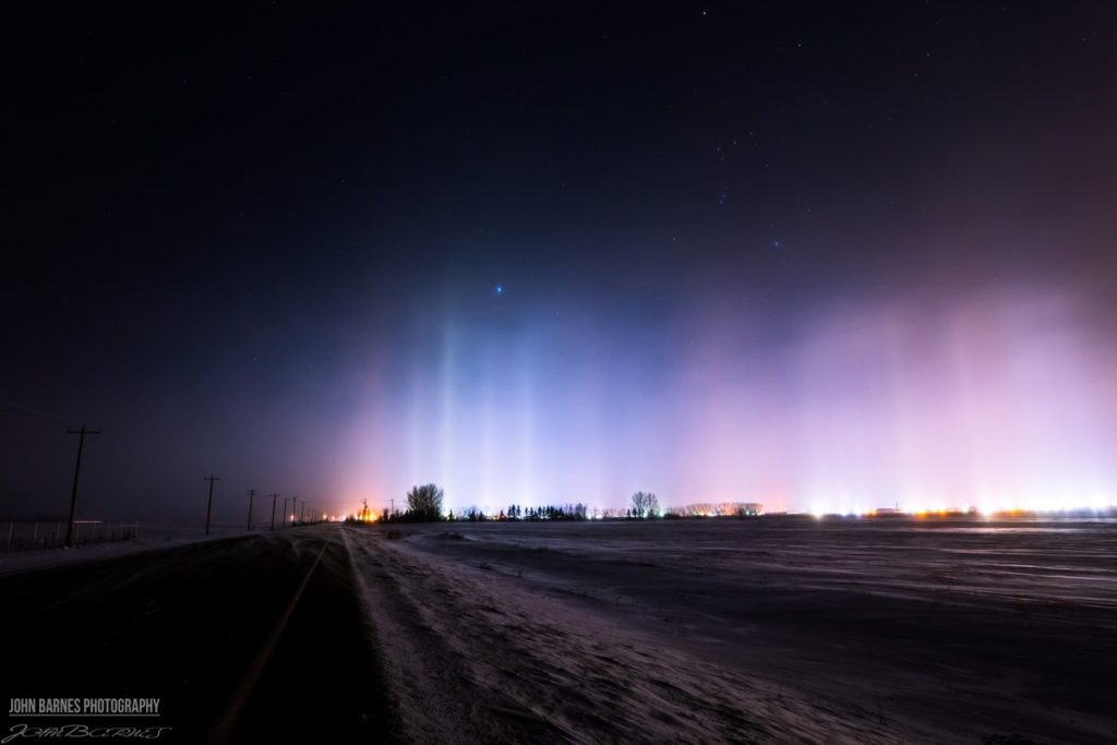 Light pillars in Lacombe, Alberta by John Barnes @Johnny_B500