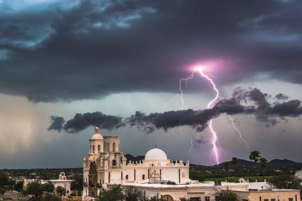 Lightning over the San Xavier Mission south of Tucson, Arizon by Lori Grace Bailey @lorigraceaz