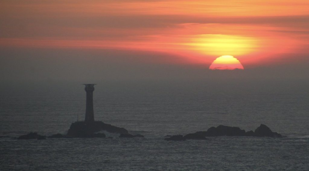 Longships Lighthouse Sunset taken last night from Sennen Cove lookout by Lisa @BrownieLB_1