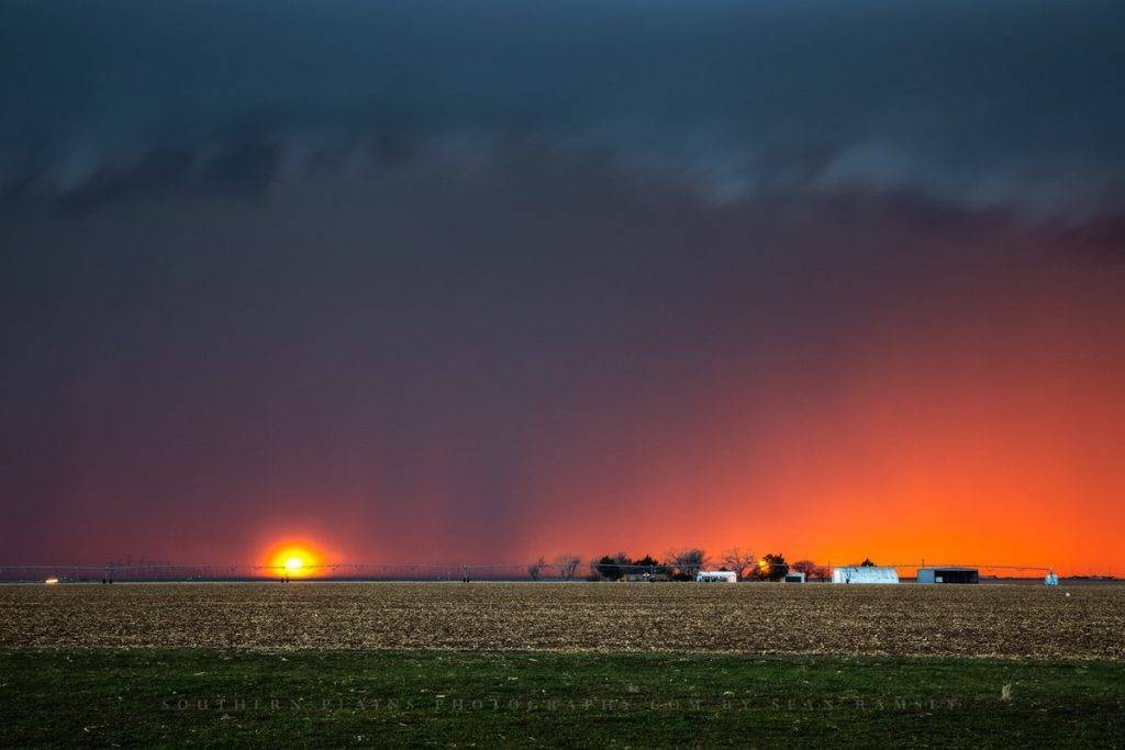 Sundown on a farm during a stormy evening in the Texas Panhandle on Friday Sean Ramsey @seanramseySPP