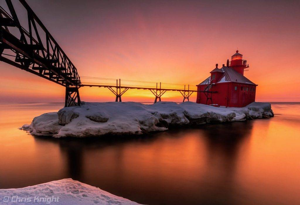 Sunrise at the Sturgeon Bay Pierhead Light by Chris Knight @ChrisKnight