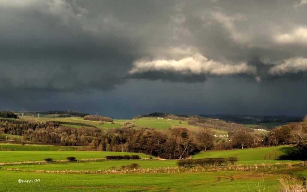 A contrasting mix of bright sunshine and heavy stormclouds in the Tyne Valley by Michael Allan @MRA_99