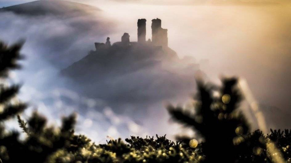 A misty morning at Corfe Castle by Naturehawk Photo @NaturehawkPhoto