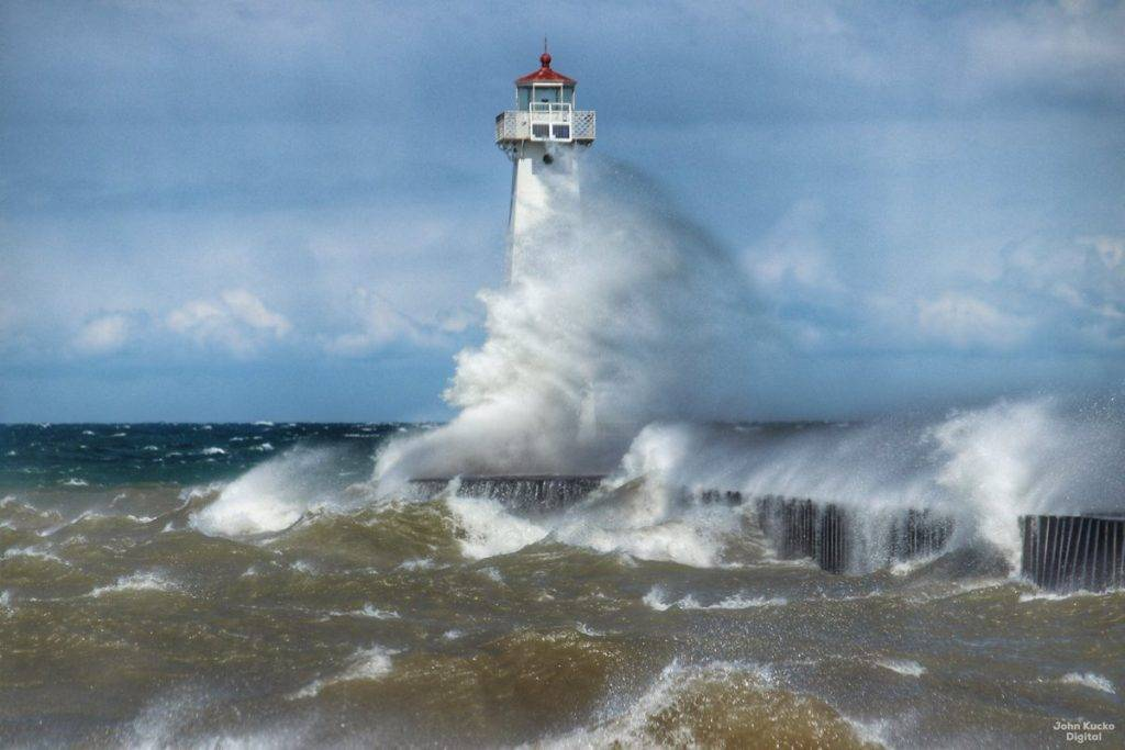 Lake Ontario is angry at Sodus Point, NY by John Kucko @john_kucko