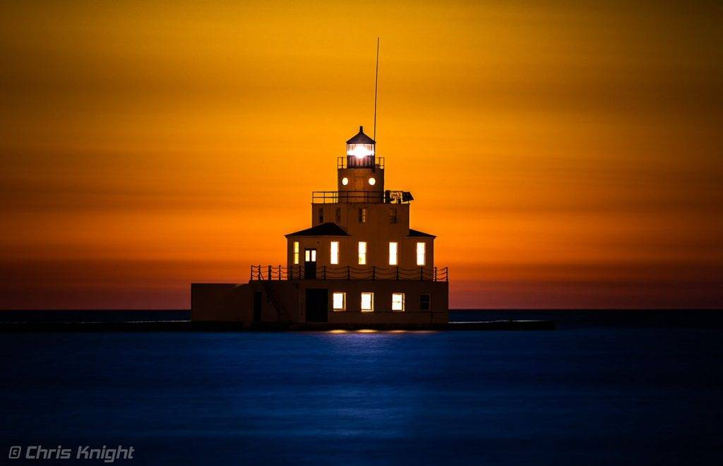 Sunrise on Lake Michigan at the Breakwater Light by Chris Knight @ChrisKnight