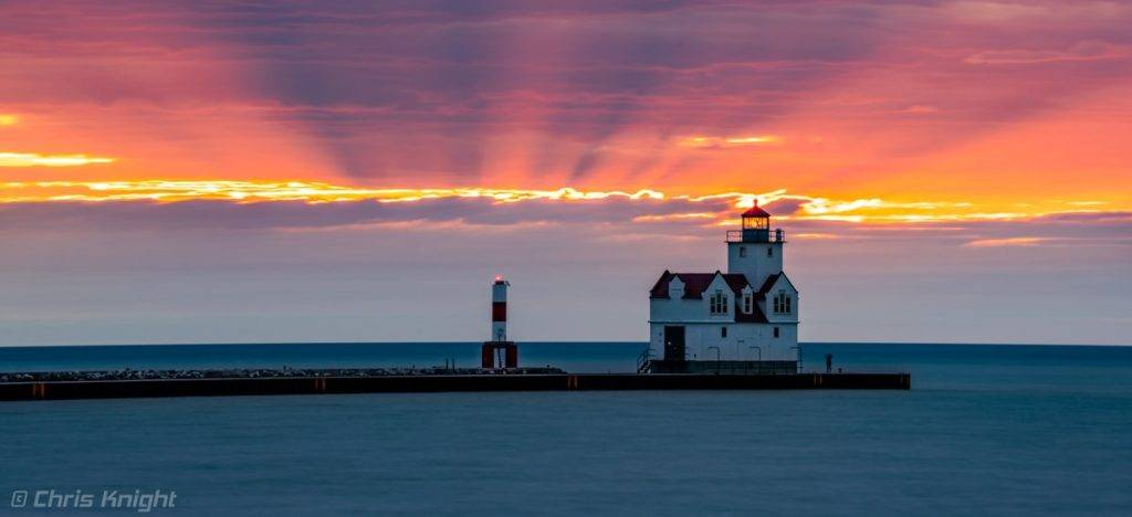 Sunrise on Lake Michigan in Kewaunee, WI. Pierhead Lighthouse by Chris Knight @ChrisKnight