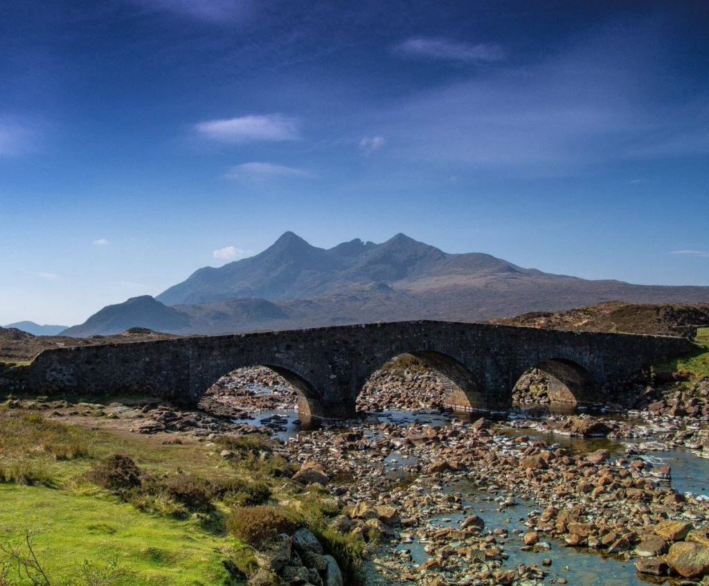 The old sligachan bridge with the Cuillins in the background on the Isle of Skye by john anderson @john_a_photo