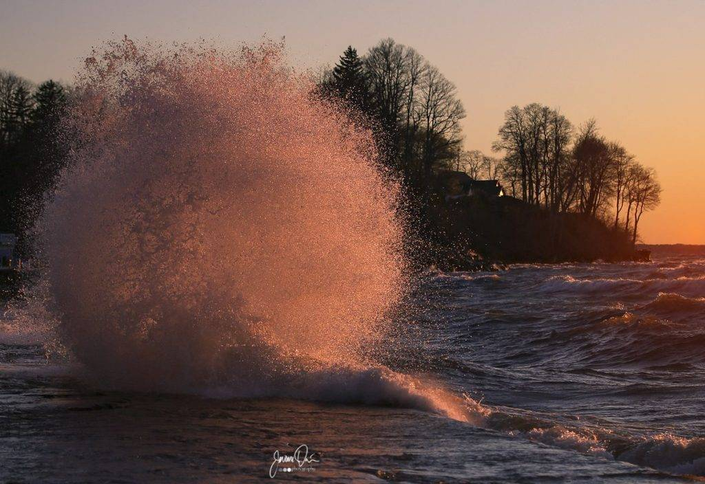 Waves were plentiful at sunset along the lake shore in Webster, NY by Jerome Davis @jdavis2731