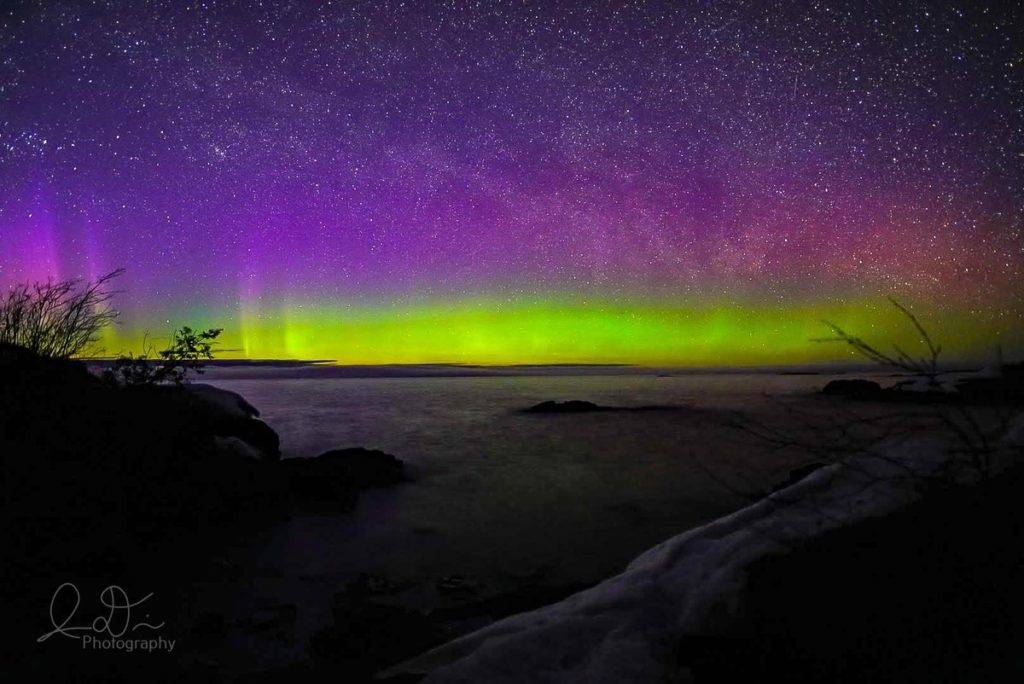 Colourful Northern Lights at Esrey Park in Eagle Harbor, MI by Isaac [REDACTED] @ID_Photo_Graphy