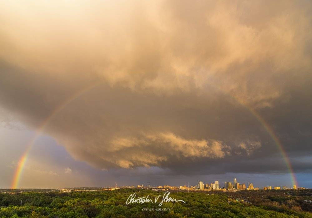 Rainbow at Sunset over Austin, Texas by Christopher Sherman Photography @cvsherman