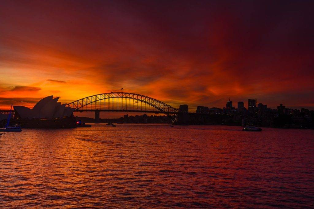 Spectacular sunset overlooking Sydney Harbour Bridge and the Opera House by Glen Anderson @Gleno_