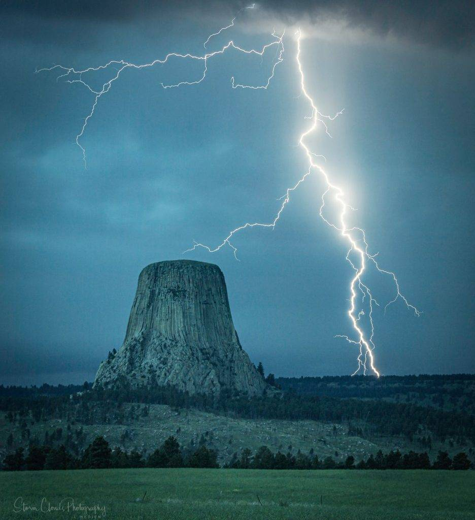 2nd Place Lightning over Devils Tower by Laura Hedien- Storm Clouds Photography @lhedien