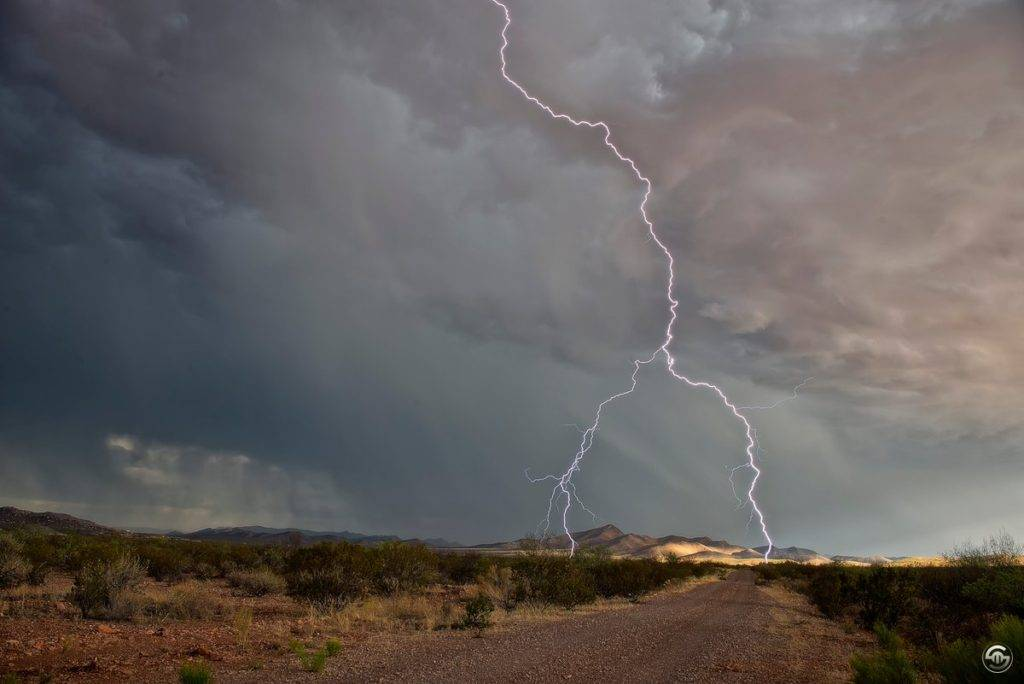 3rd Place Lightning striking southeast of Bisbee, AZ by Steven Maguire @StephenMaguire4