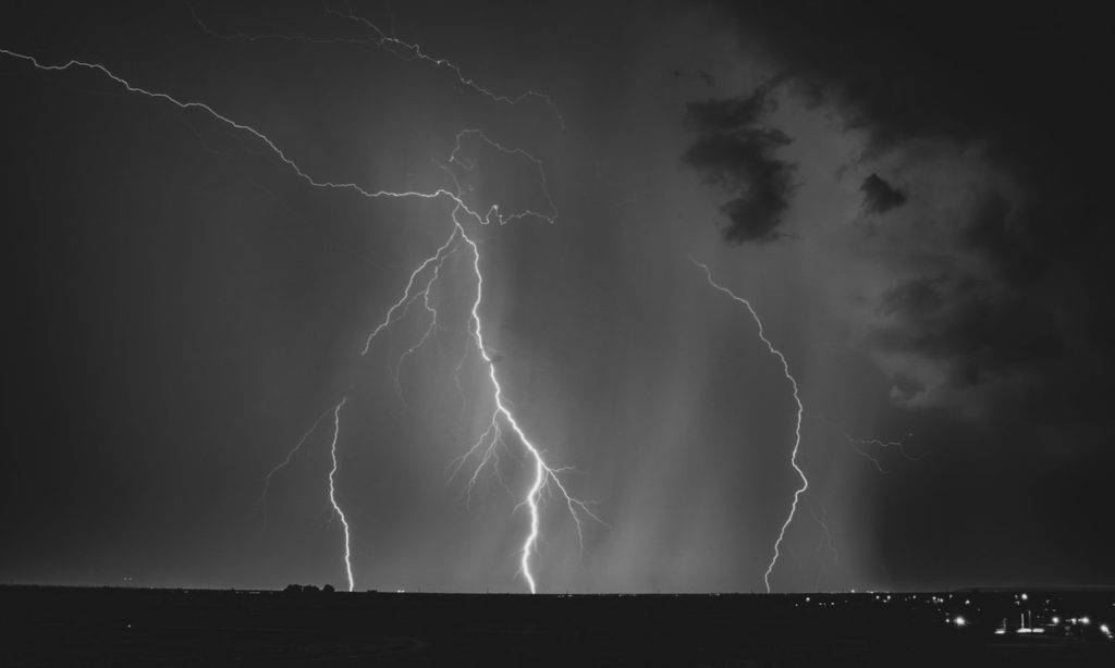 Black and white lightning photo by Preston Garbe Photography @GarbePreston