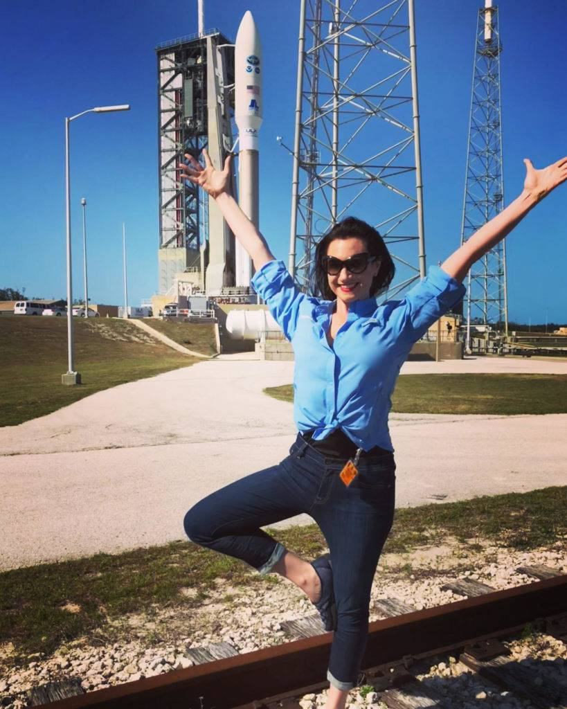 Meredith Garofalo Ready for liftoff! In front of NOAA Satellites GOES West before launch.