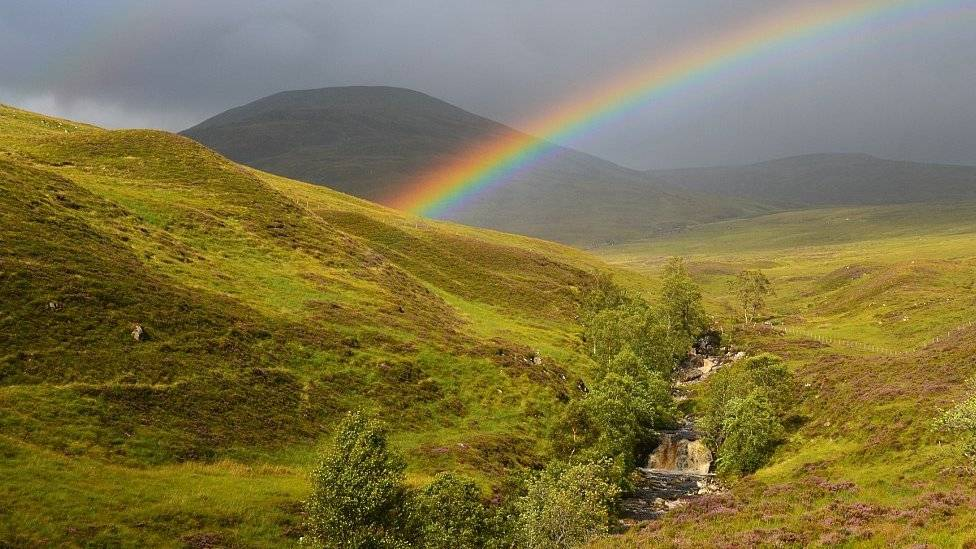 Rainbow over Gael Charn, Highlands, Scotland by Margaret @scotslass154