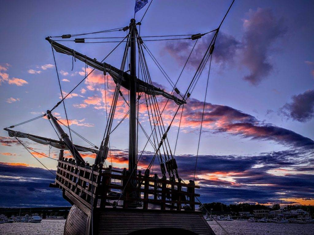 Sunset clouds in Massachusetts made pastel furled sails for the Nao Santa Maria by Stephanie Glennon @SMartinGlennon
