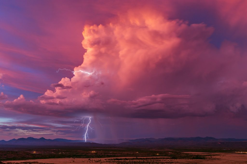 An isolated storm put the finishing touches on a spectacular monsoon sunset in San Carlos by John Sirlin @SirlinJohn