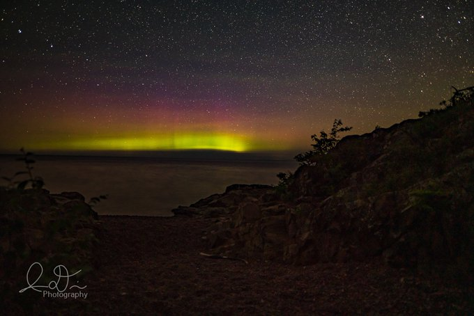 Aurora at Hunters Point in Copper Harbor, MI by Isaac @ID_Photo_Graphy