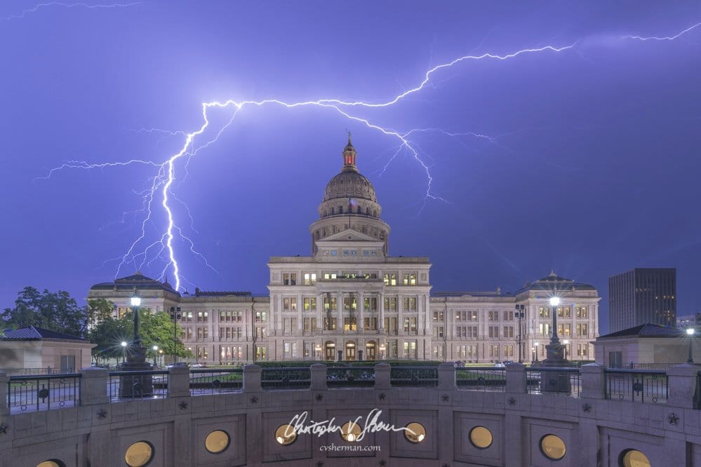Lightning over the Texas State Capitol Building by Christopher V. Sherman Photography @cvsherman