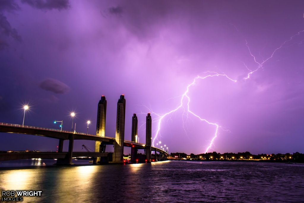 Lightning strikes behind the Sarah Mildred Long Bridge from Kittery, ME by Rob Wright Images @RobWrightImages