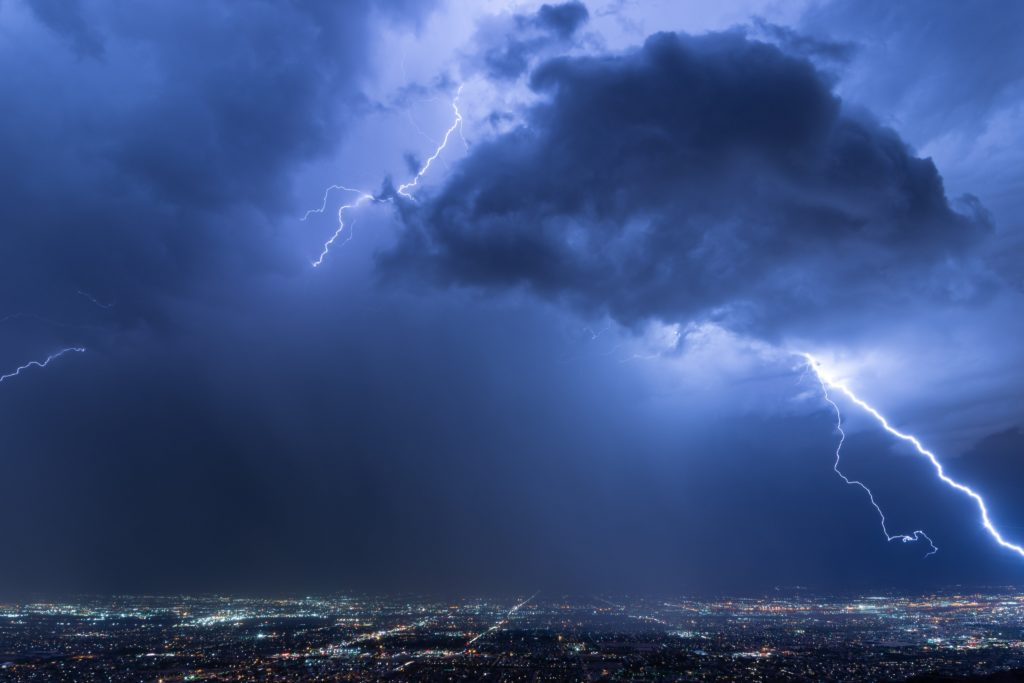 Clear air bolt over Phoenix, Arizona by Christopher Scragg @monsoonchaser