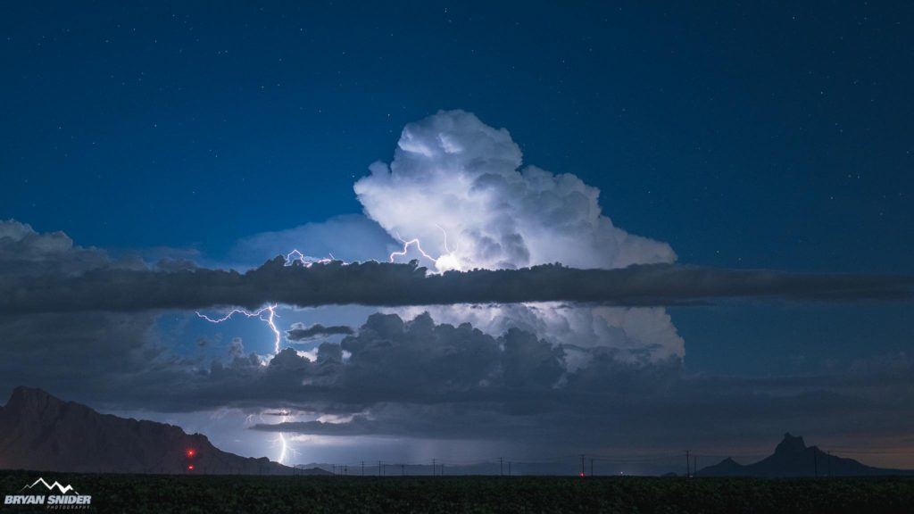 Positive Bolt from a storm near Tucson, Arizona by Bryan Snider @BryanSnider