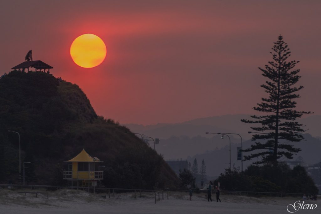 Smoke in the air from the bushfires Greenmount Beach - Australia by Glen Anderson @Gleno_